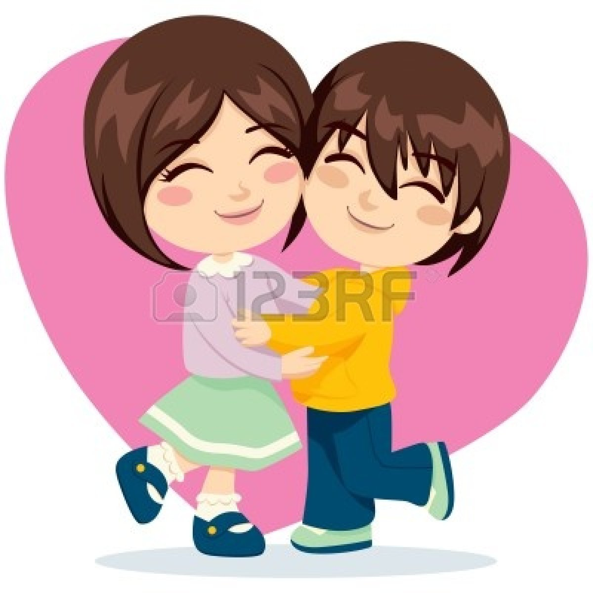 hight resolution of hugging friends clipart