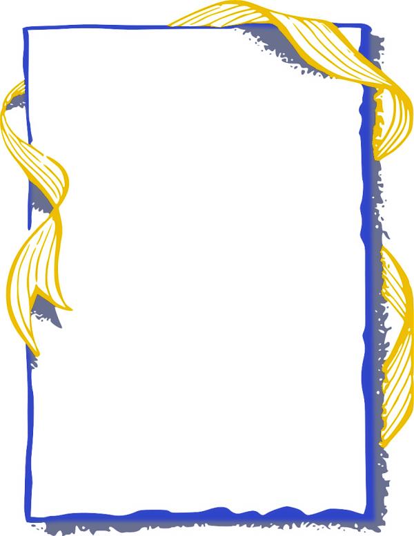 ribbon frame gold blue clipart
