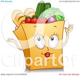 grocery bag clipart illustration gesturing character clip groceries royalty clipartpanda rf bnp studio terms