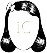 wig clipart black and white