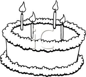 Clip Art Black and White Cake