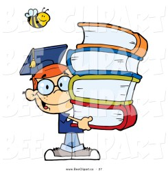 happy bee cartoon boy books clip clipart graduate student vector toon carrying hit stack haired clipartpanda 3d terms designs