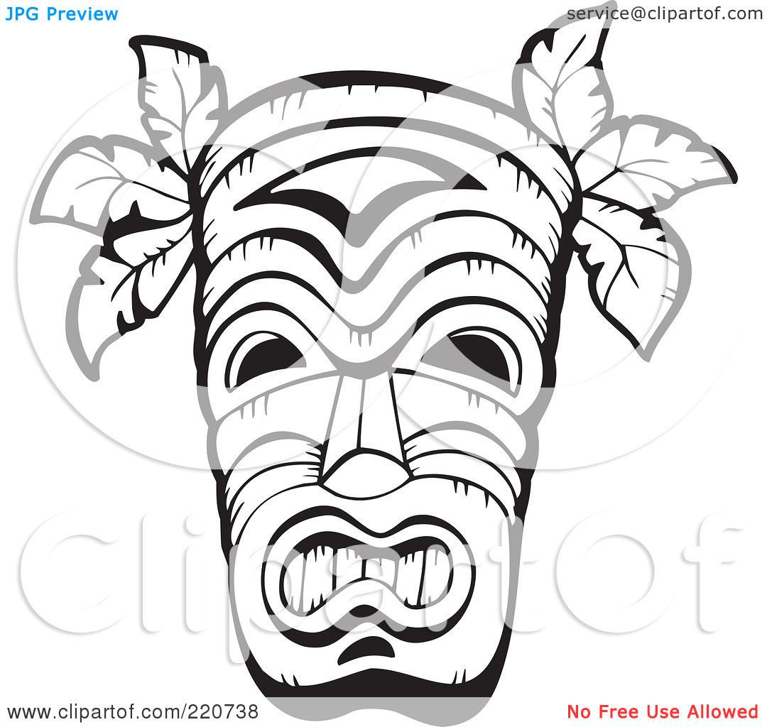 Hawaiian Clip Art Black And White Tiki
