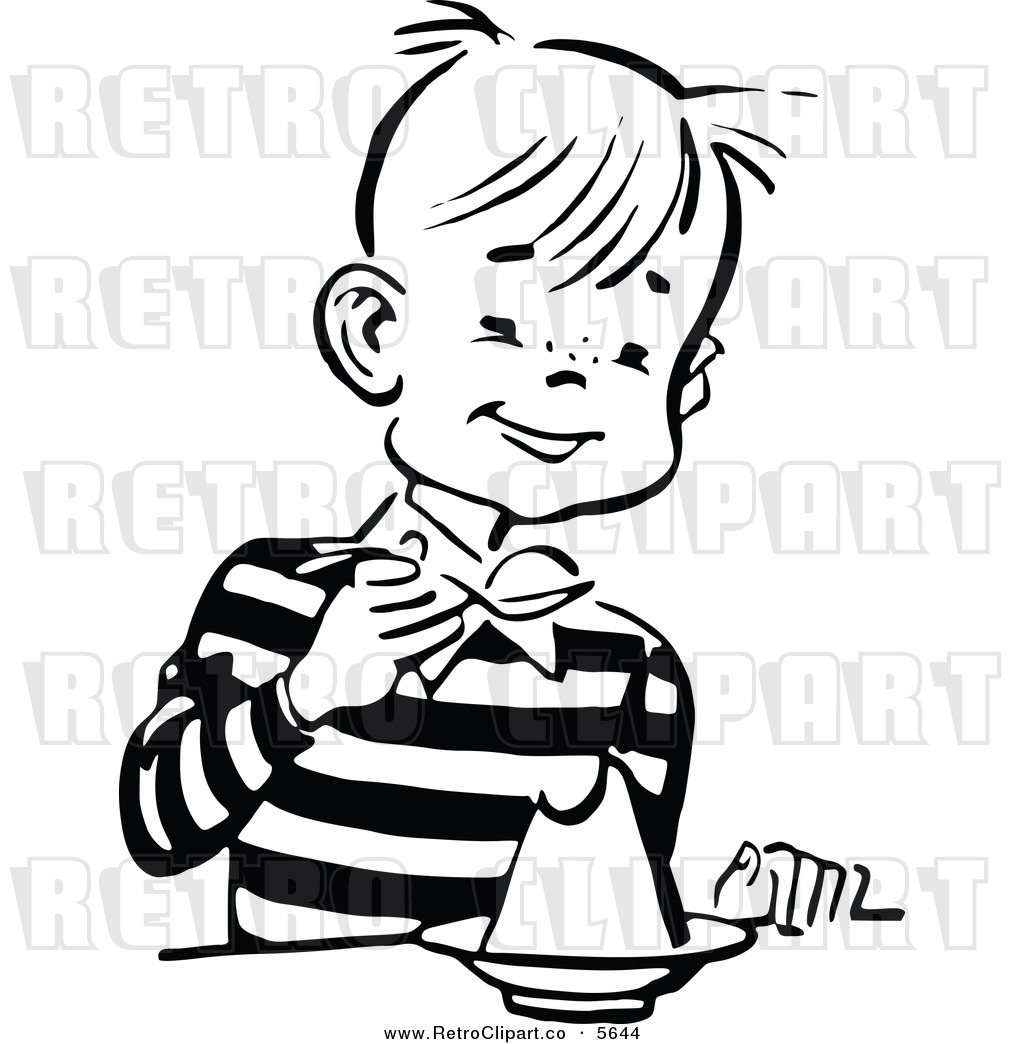 Kid Eating Clipart Black And White Clipart Panda