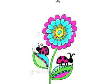 ladybug blue flower clipart