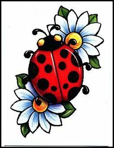 ladybug flower tattoo clipart