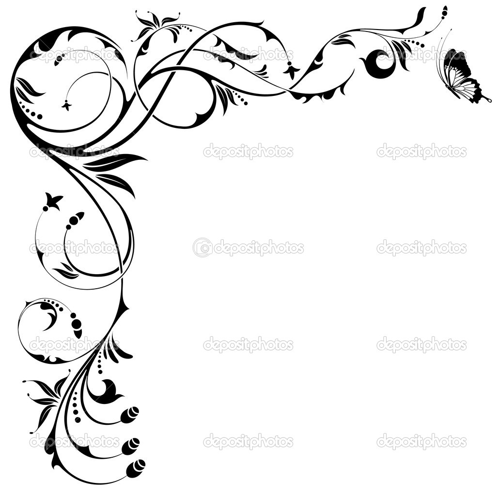 Floral Border With Butterfly Clipart Panda