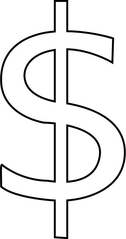 money sign clip art black and white