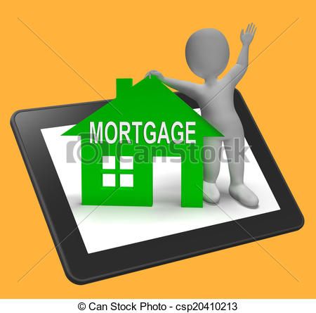 mortgage house tablet shows clipart