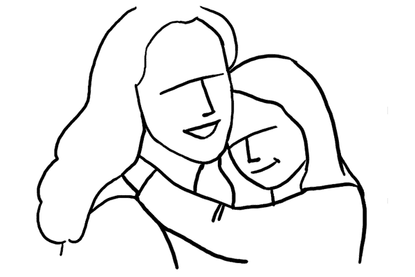 Mother And Baby Line Drawing
