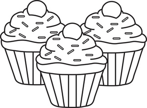 muffin clipart black and white
