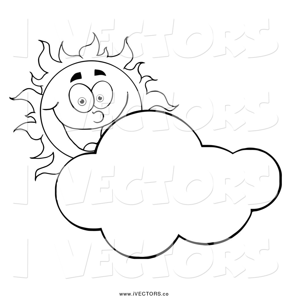 Sun And Clouds Black And White Clipart