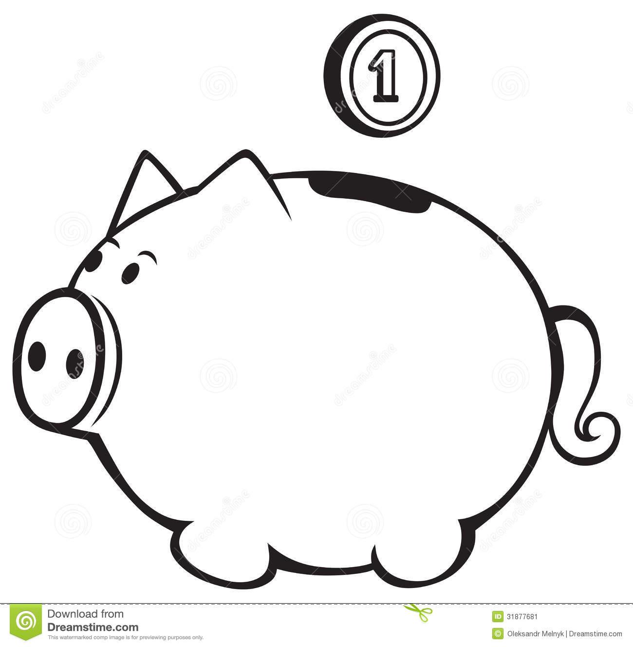 Piggy Bank Clipart Black And White Clipart Panda