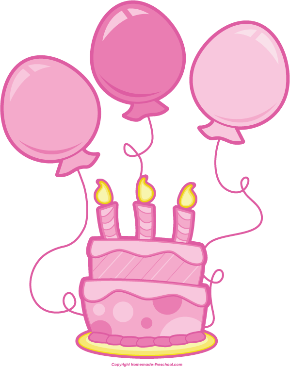 pink birthday balloons clipart