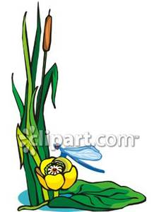 blue dragonfly pond clipart