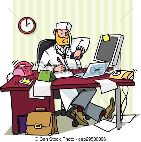 busy chief doctor in office