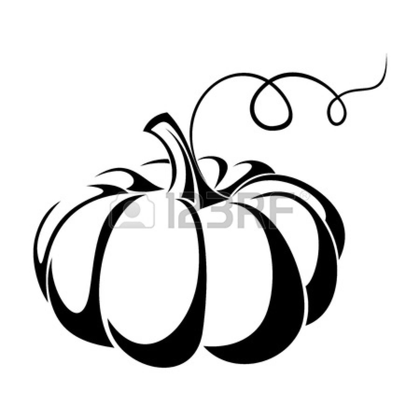 Cute Pumpkin Clip Art Black And White