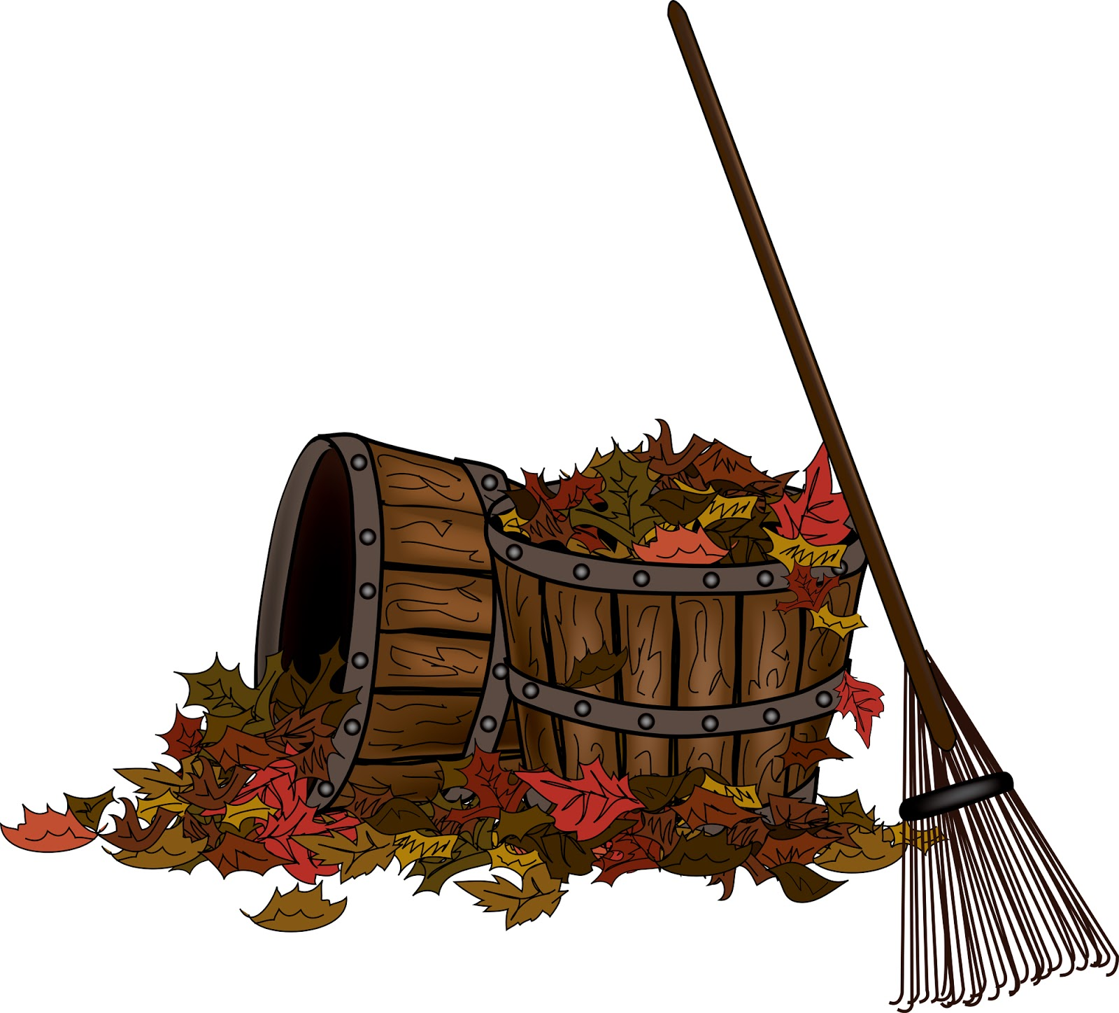 hight resolution of rake and leaves clip art