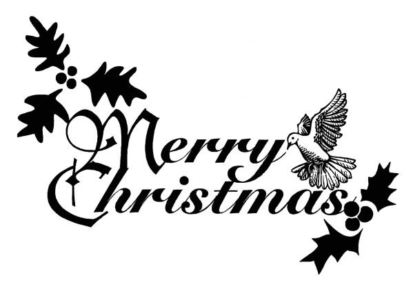 merry christmas clipart black