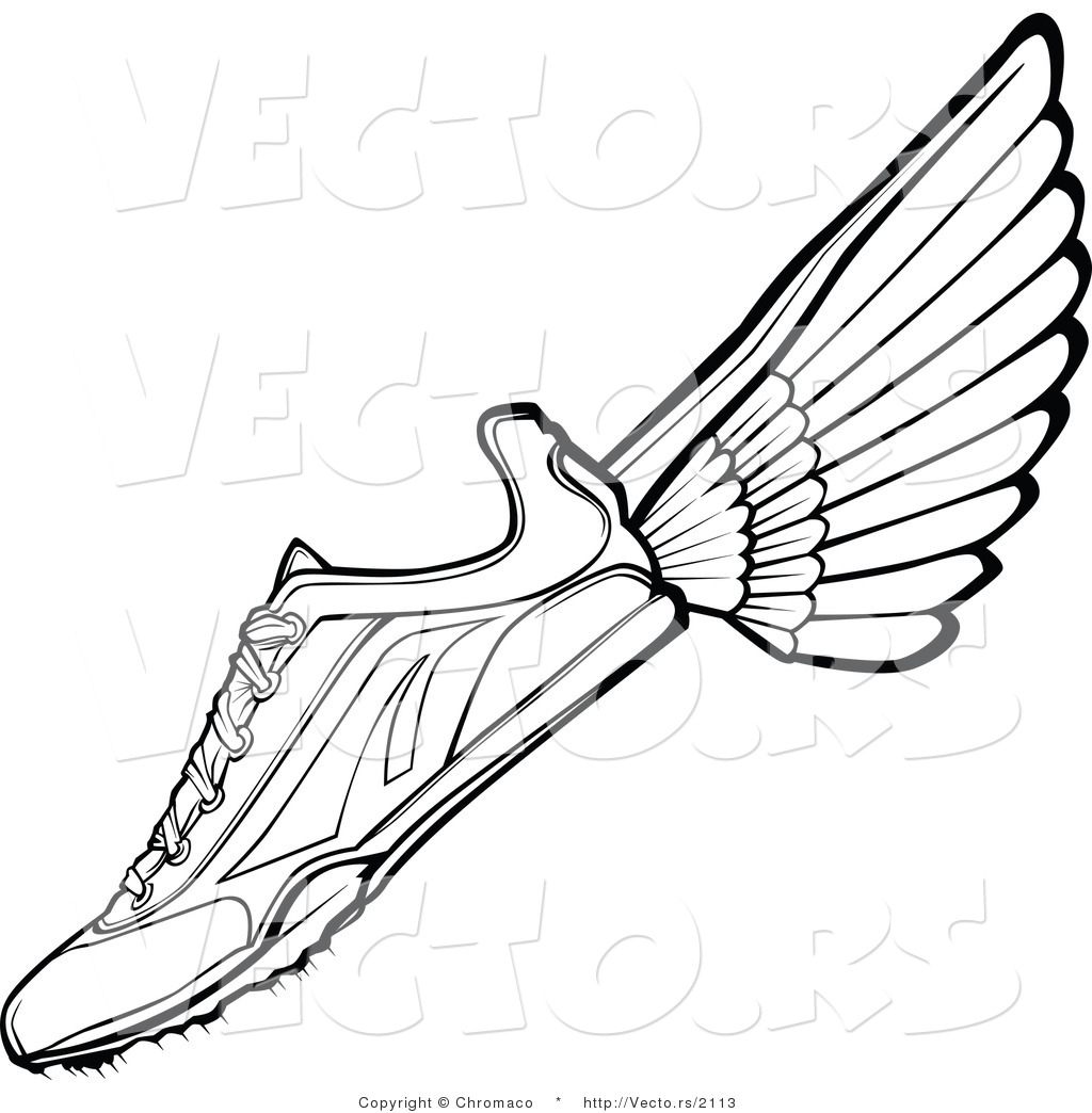 Running Shoes Clipart Black And White
