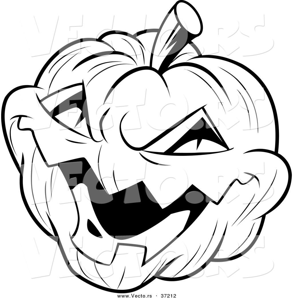 Black And White Halloween Pumpkin Clipart
