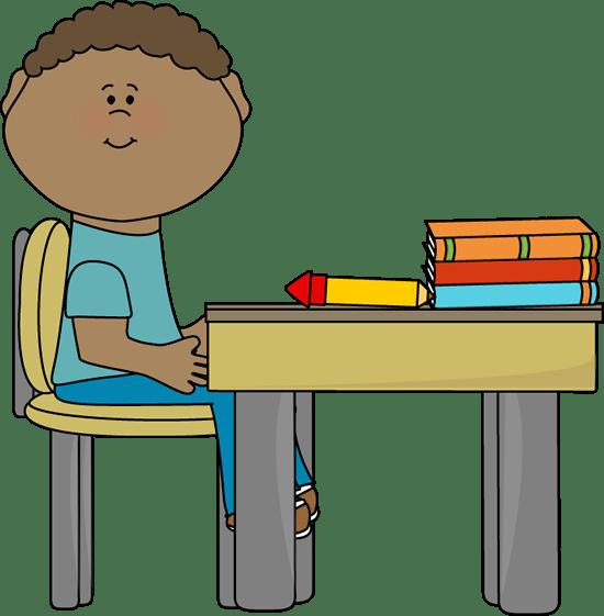 girl student desk clipart