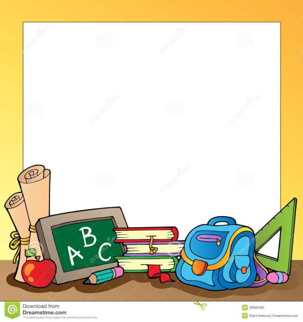 School Supplies Frame Clipart Panda - Free