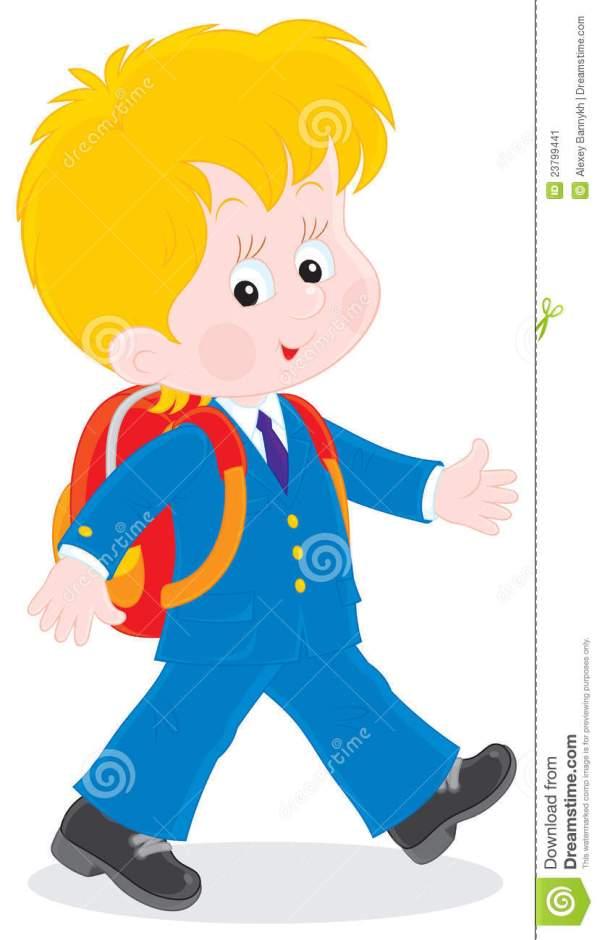 Boy Student Walking Clip Art