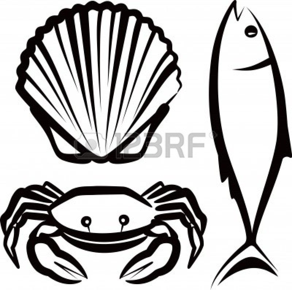 hight resolution of seafood clipart