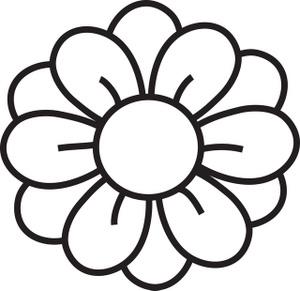 simple flower clipart black