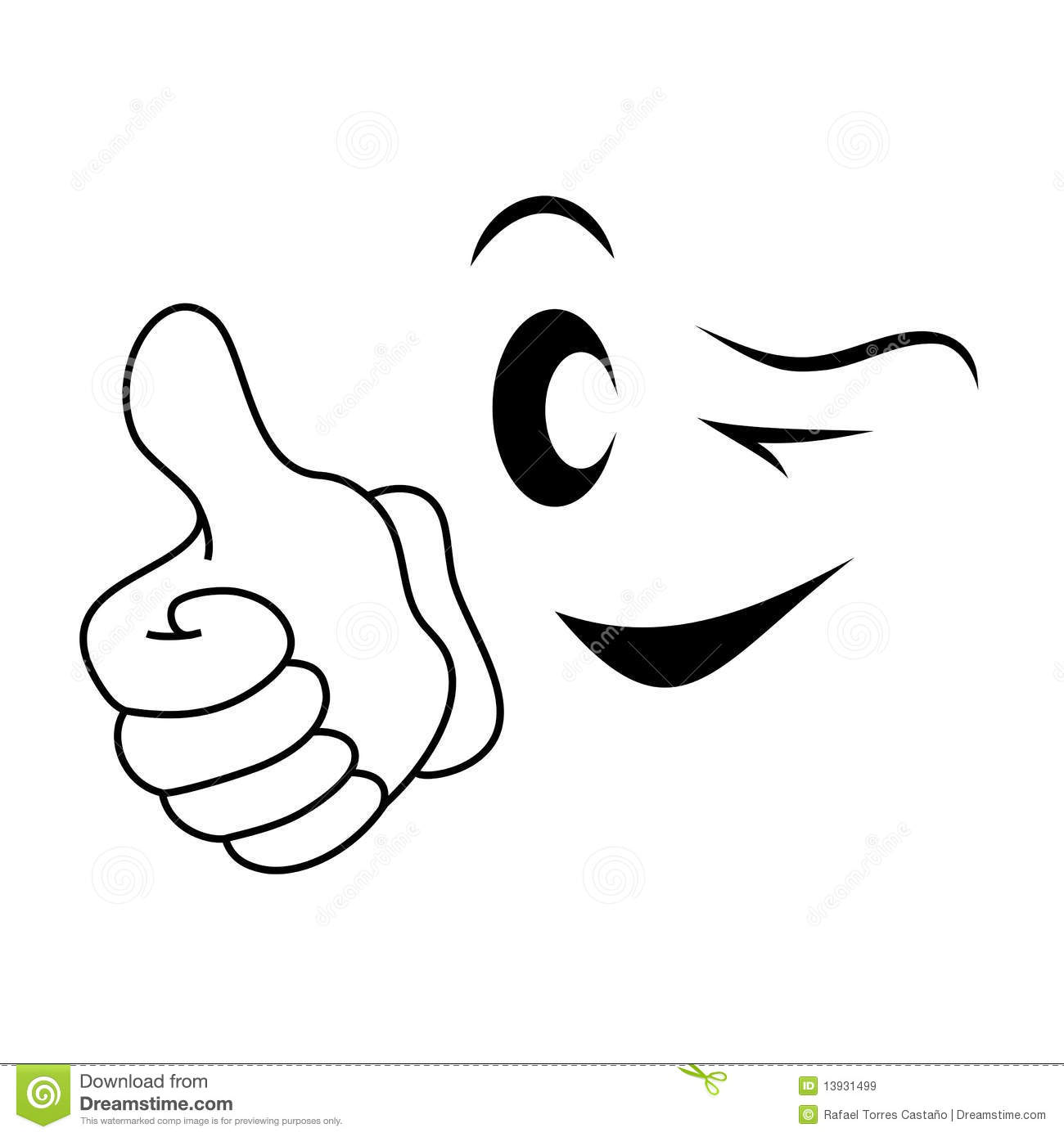 Smiley Face Thumbs Up Black And White