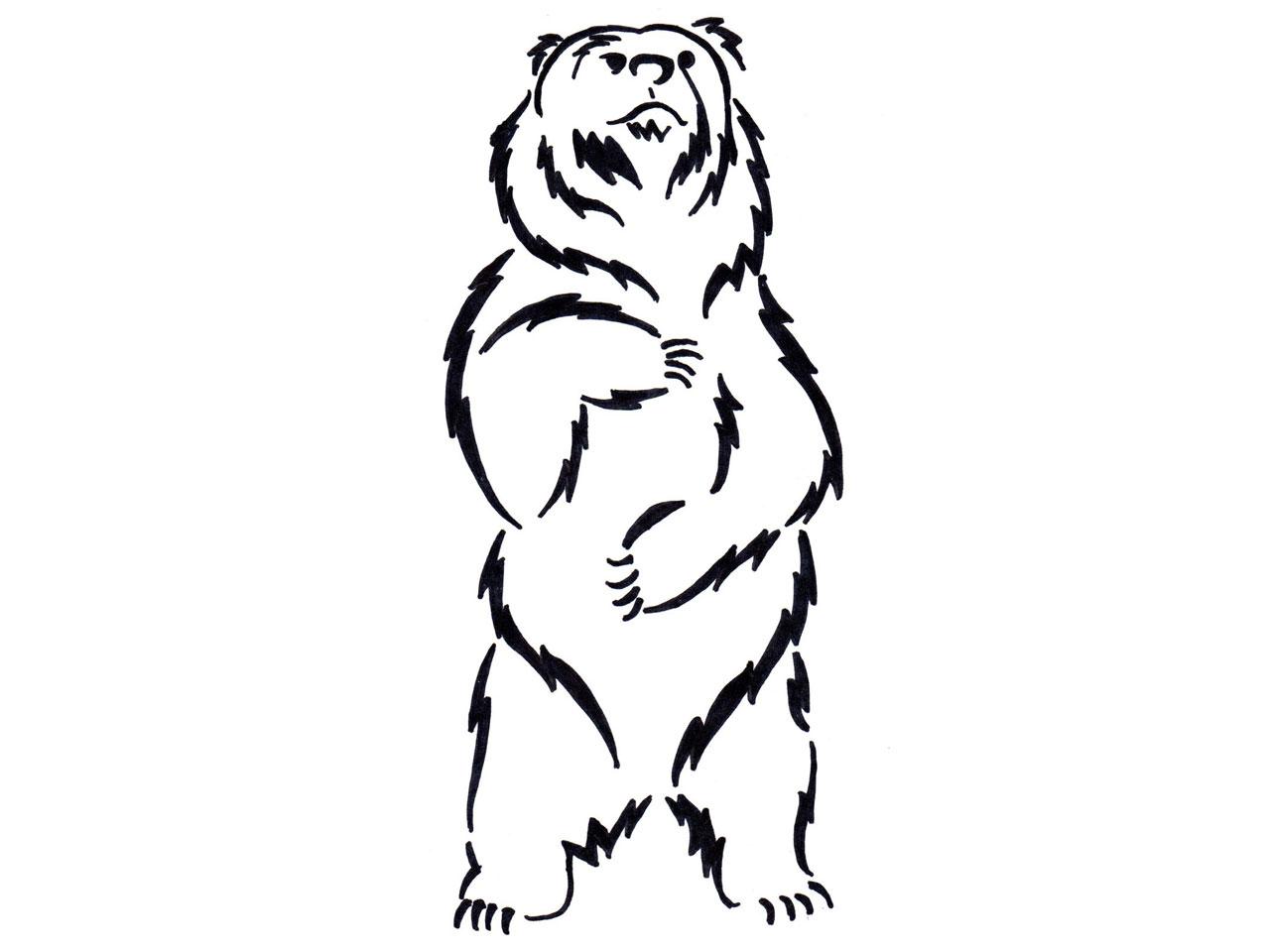 Standing Bear Outline Clipart Panda