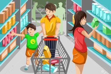 supermarket clipart shopping grocery supermercado clipartpanda aisle compras familia illustration el