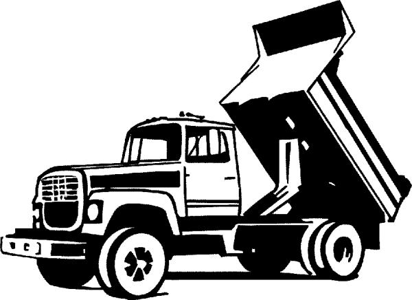 dump truck clipart black and white