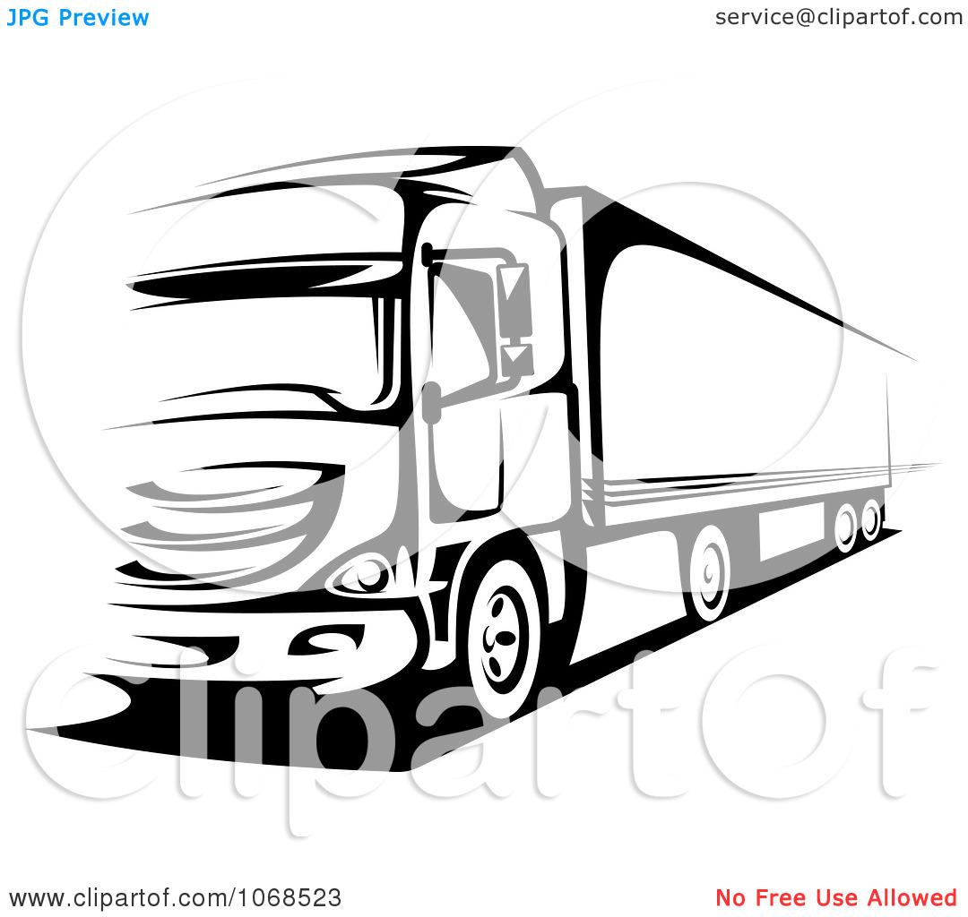 Semi Truck Clipart Black And White Clipart Panda