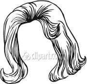 black hair wig clipart