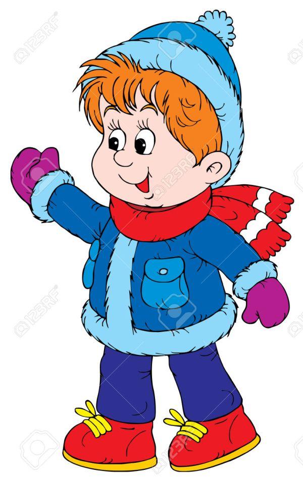 Free Clip Art Children Walking in Winter