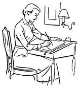 writing clipart clip version desk woman illustrations formal wear drawing gograph