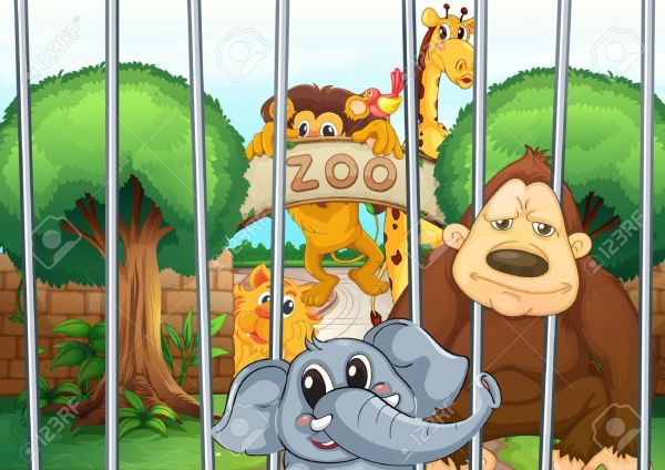 Zoo Animals In Cages Clipart
