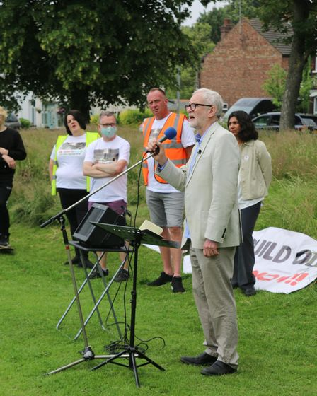 Jeremy Corbyn was among the speakers at a QEH rally at The Walks in King's Lynn.