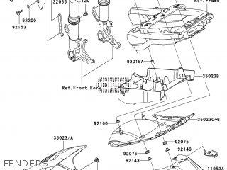 FENDER-FRONT,BLACK for ZR1000-A1H Z1000 2003 EUROPE,MIDDLE