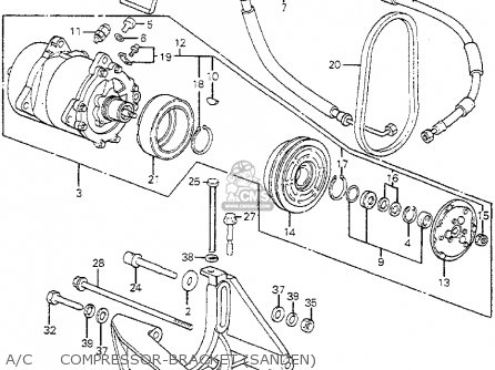 Honda Accord 1982 (c) 4dr Dx (kl,ka,kh) parts list