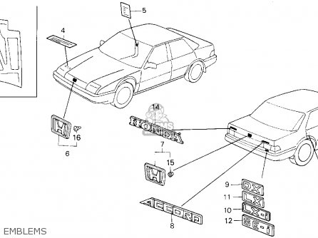Honda Accord 1987 (h) 4dr Lxi (ka) parts list partsmanual