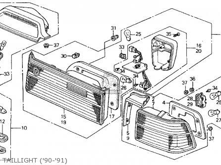 Honda ACCORD 1990 (L) 2DR DX (KA,KL) parts lists and