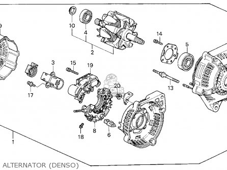 Denso Alternator Honda Accord Parts Diagram. Honda. Auto