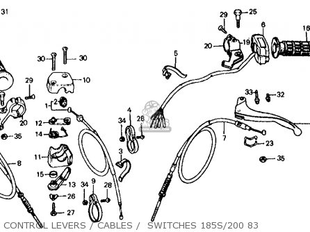 Honda Atc185s 1983 (d) Usa parts list partsmanual partsfiche