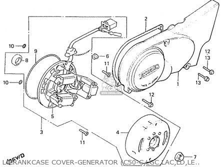 Honda C50LA CUB 1982 (C) ENGLAND parts lists and schematics