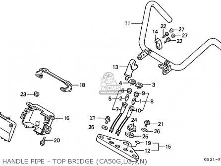 Honda Ca50n Jazz Japan (11gs3gj5) parts list partsmanual