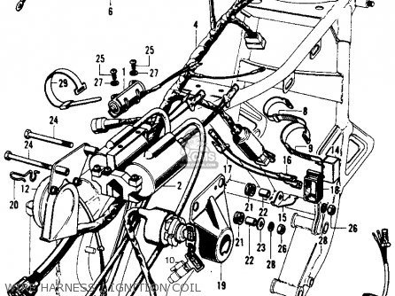 cb450 wiring diagram weg w22 cooling tower motor honda auto electrical gl1200 motorcycle diagrams super sport 450 k6 1973 usa parts list