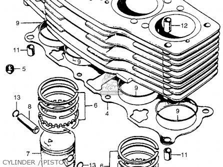 Honda Cb750 Four K5 1975 Usa parts list partsmanual partsfiche